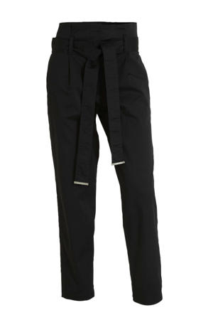 high waist tapered fit broek zwart