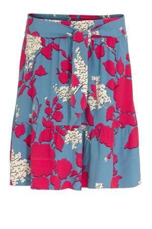 rok met all over print en ceintuur blauw/roze