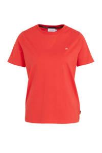 CALVIN KLEIN T-shirt met logo koraalrood, Koraalrood