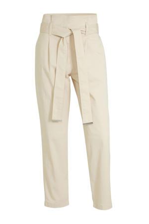 high waist tapered fit broek beige