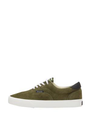 suède sneakers olijfgroen
