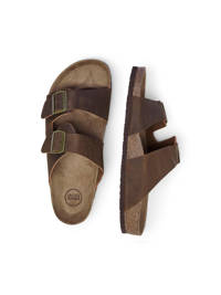 JACK & JONES   leren slippers bruin, Bruin