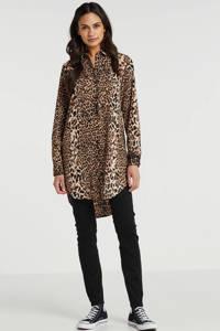 PIECES blouse met panterprint bruin, Bruin