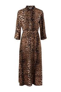PIECES maxi jurk met panterprint bruin, Bruin