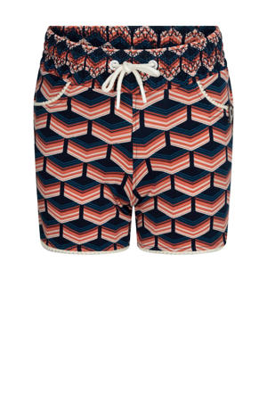 regular fit short Hot water met grafische print koraalrood