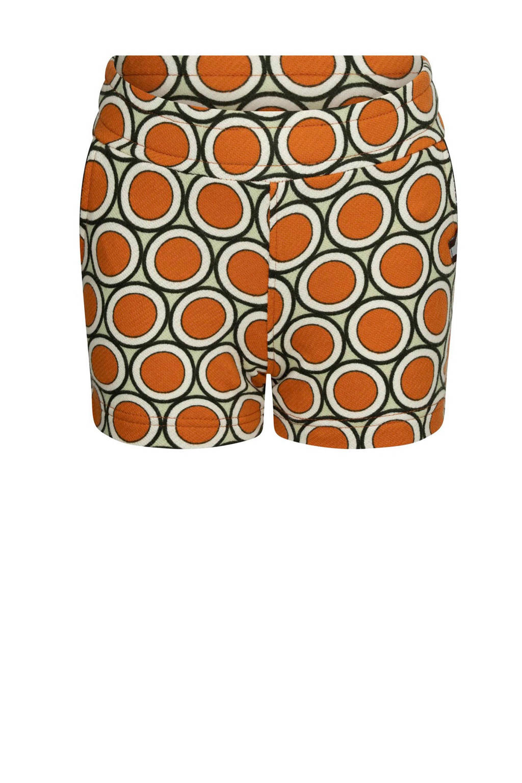 4funkyflavours regular fit sweatshort Life Ain't Nothing But A Good Thing met all over print oranje/lichtgroen/wit, Oranje/lichtgroen/wit