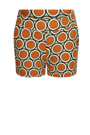 regular fit sweatshort Life Ain't Nothing But A Good Thing met all over print oranje/lichtgroen/wit