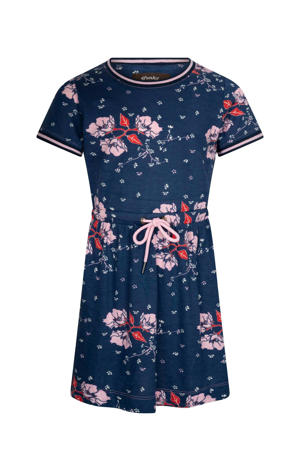 gebloemde jersey jurk .imani World donkerblauw/lichtroze/rood