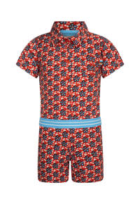 4funkyflavours jumpsuit A Love Like Yours (Don't Come Knocking Everyday) met all over print rood/blauw/wit, Rood/blauw/wit