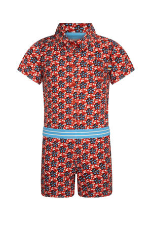 jumpsuit A Love Like Yours (Don't Come Knocking Everyday) met all over print rood/blauw/wit