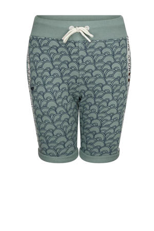 regular fit sweatshort If You're Ready (Come Go With Me) met all over print grijsblauw/wit/donkerblauw
