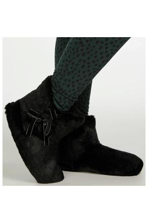 pantoffels van imitatiebont zwart