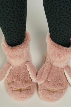 pantoffels van imitatiebont roze