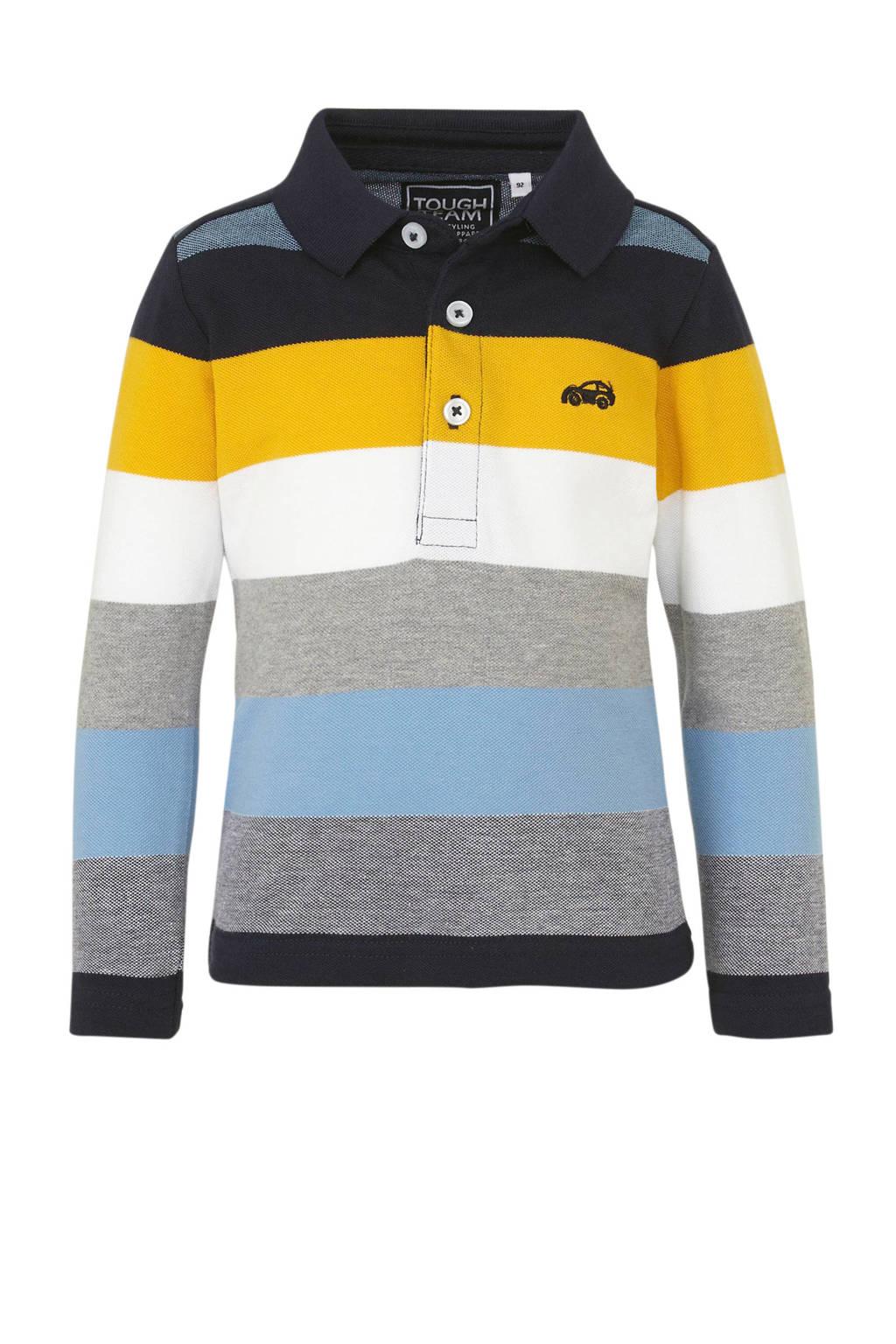 C&A Palomino gestreepte polo donkerblauw/grijs/geel, Donkerblauw/grijs/geel