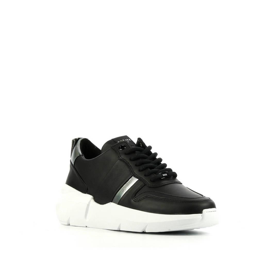 Nubikk Lucy May  leren sneakers zwart, Zwart/zilver