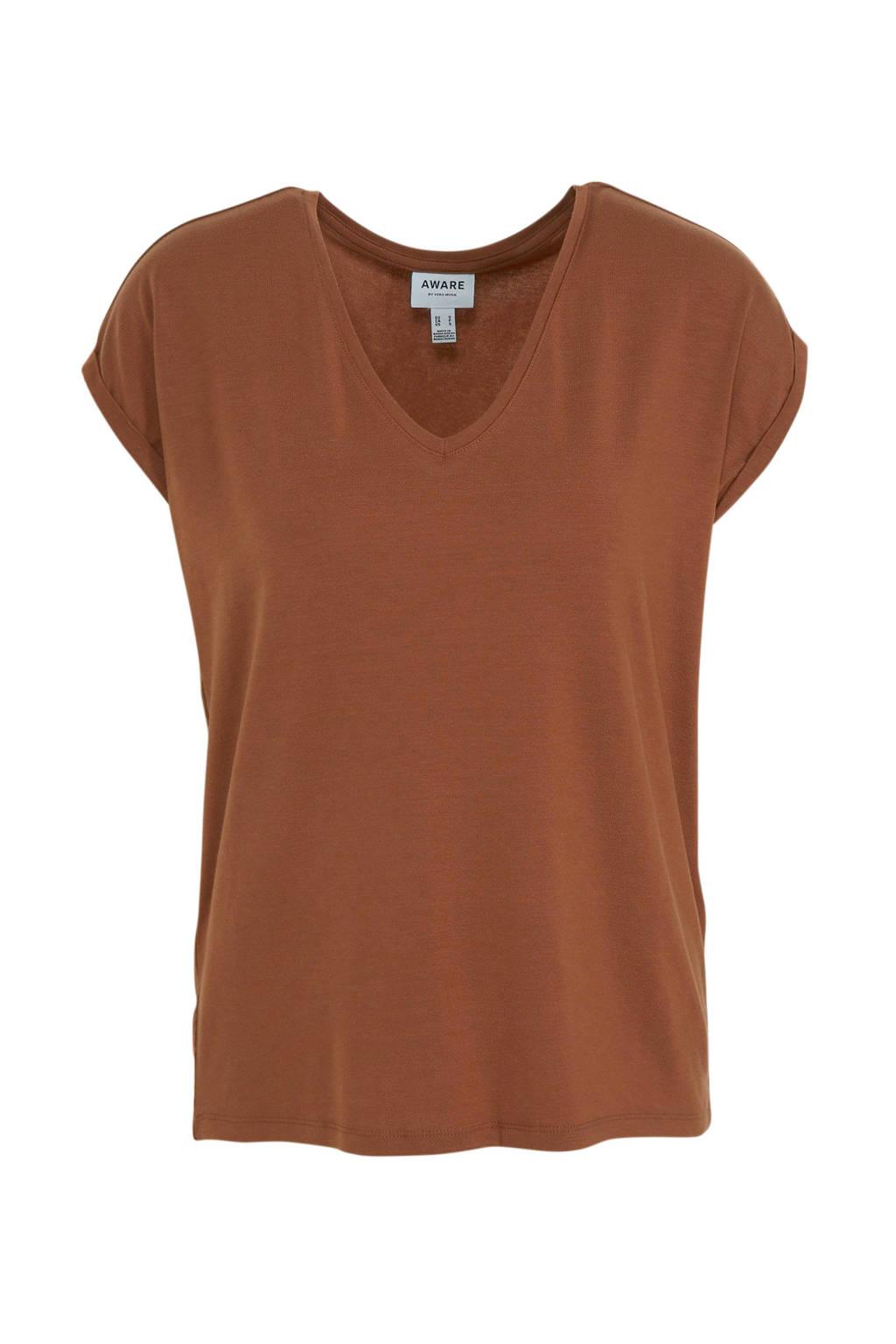 AWARE by VERO MODA T-shirt bruin, Bruin