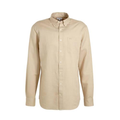 McGregor slim fit overhemd met linnen beige