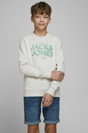 sweater Venicebeach met logo wit melange/groen