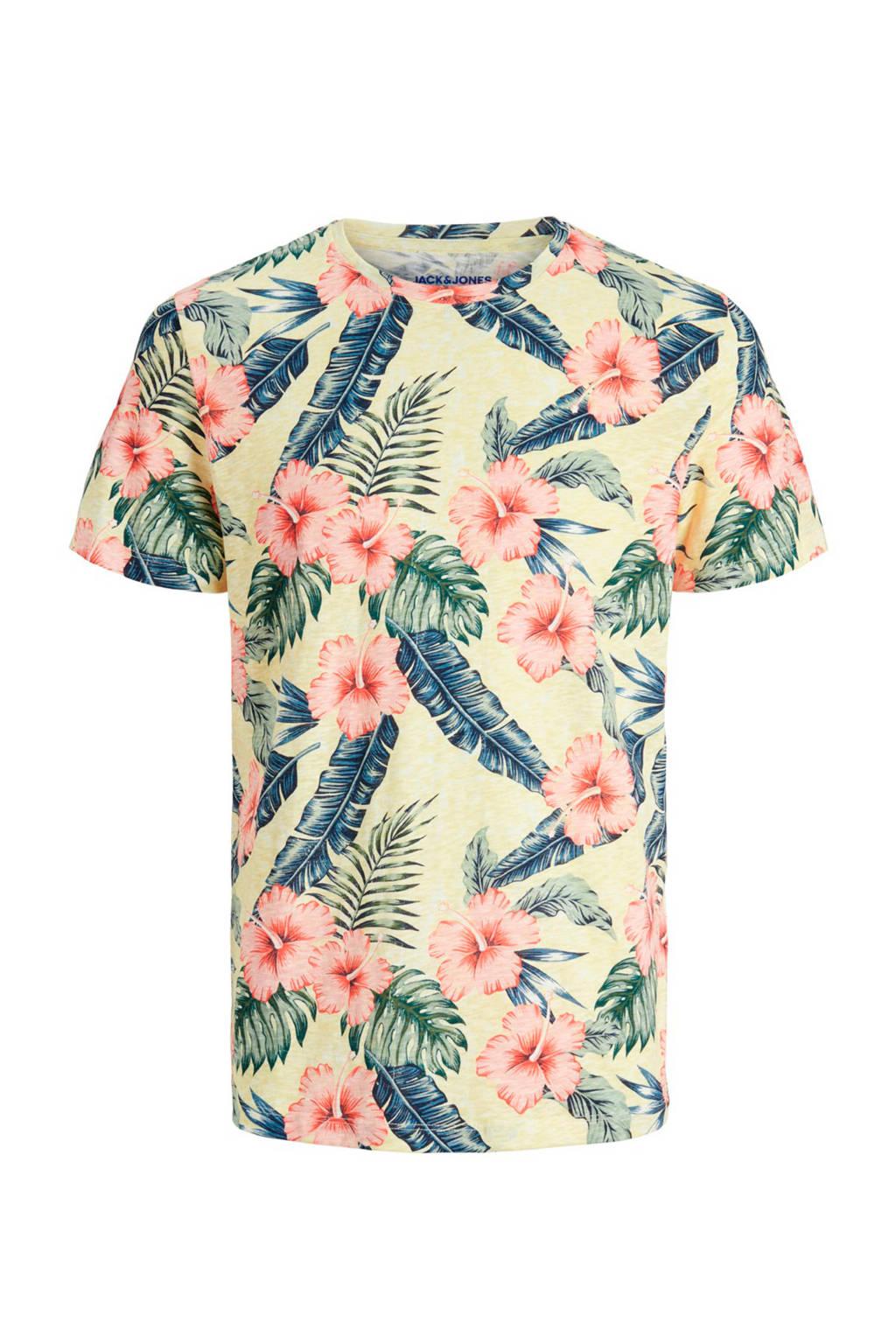 JACK & JONES JUNIOR T-shirt Eli met all over print lichtgeel, Lichtgeel