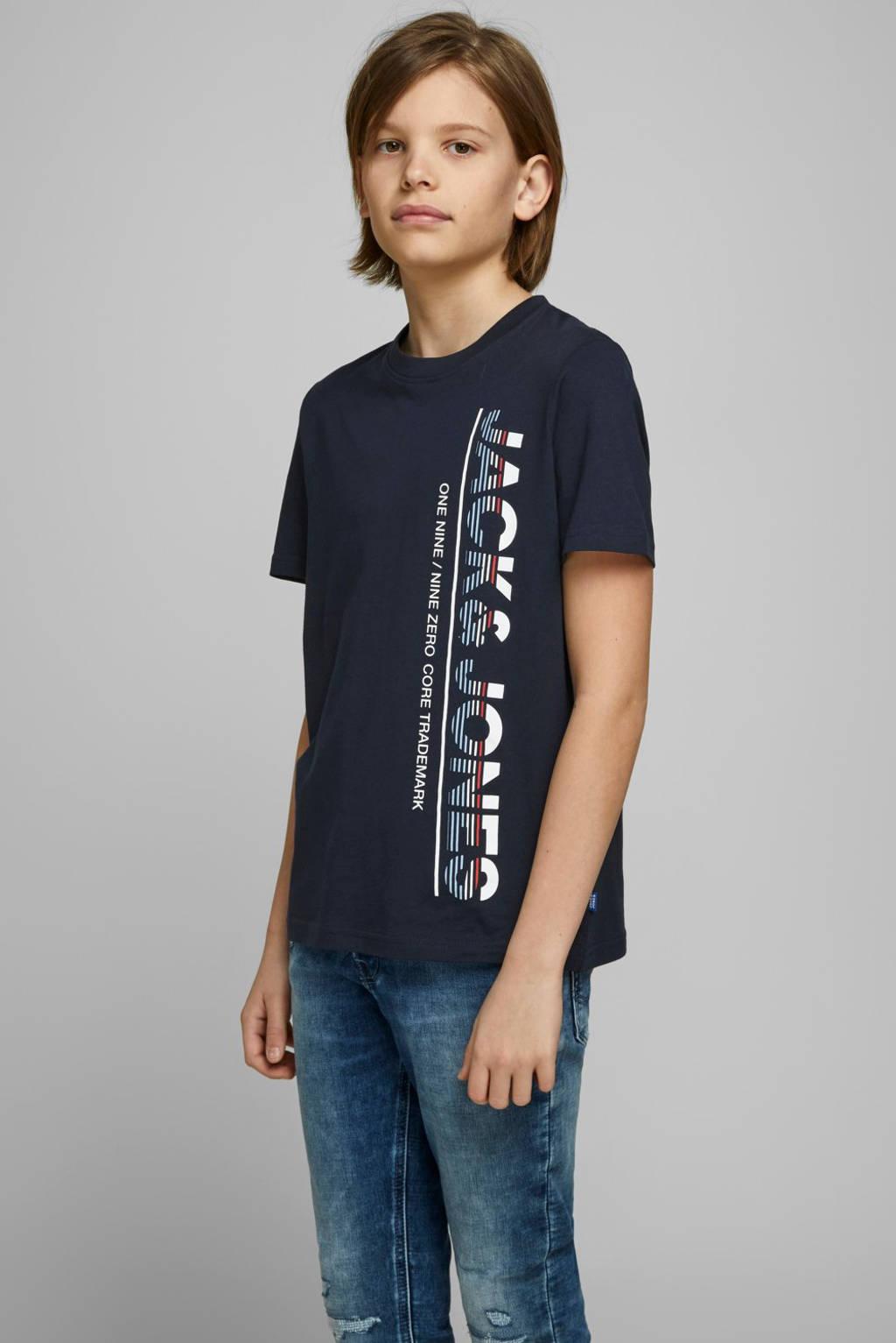 JACK & JONES JUNIOR T-shirt Structure met printopdruk donkerblauw, Donkerblauw
