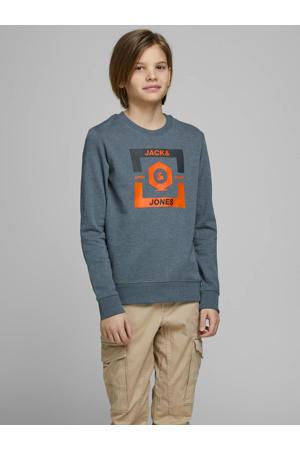 sweater Strong met printopdruk blauw