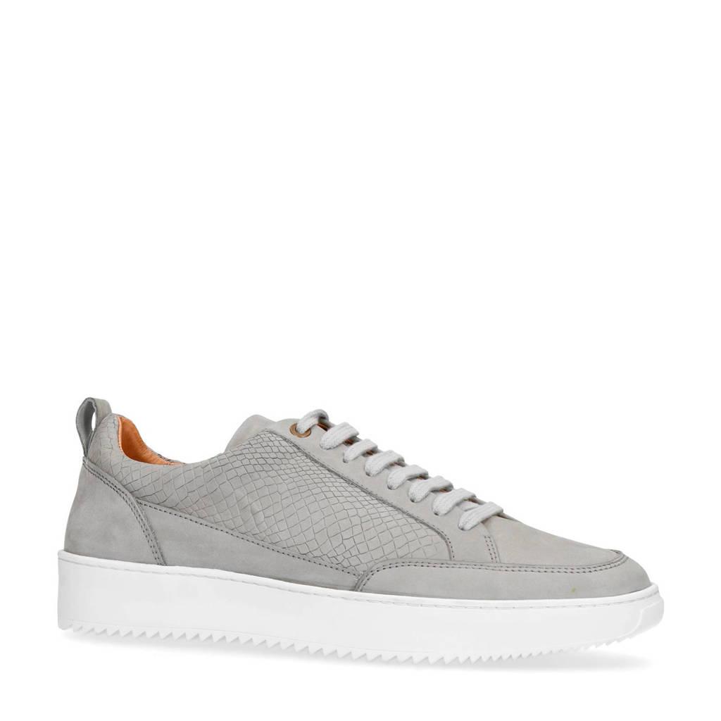 Sacha   nubuck sneakers crocoprint grijs, Grijs