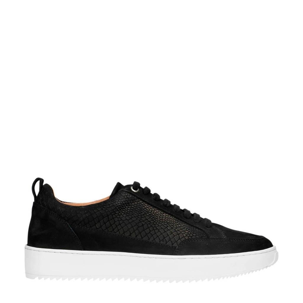 Sacha   nubuck sneakers crocoprint zwart, Zwart