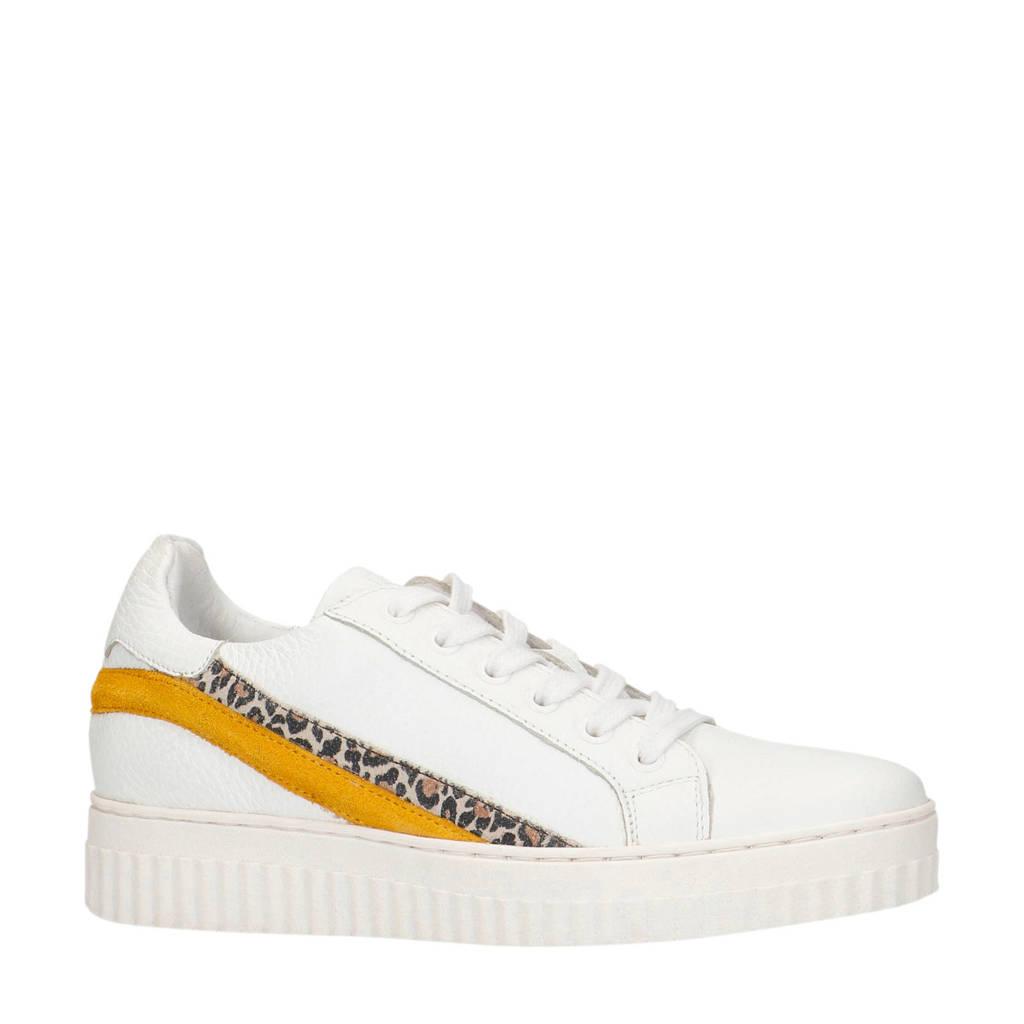 Sacha   leren sneakers wit/okergeel, Wit/okergeel