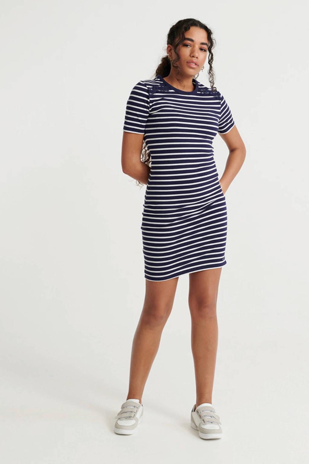Superdry gestreepte jersey jurk donkerblauw/wit, Donkerblauw/wit