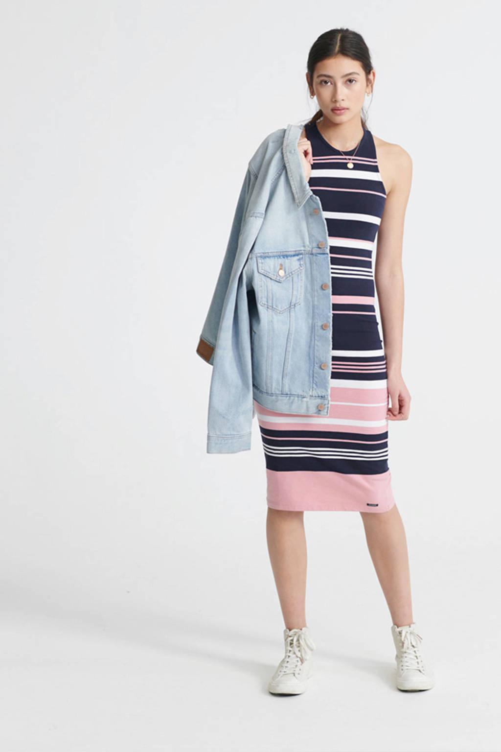 Superdry jersey jurk roze/blauw/wit, Roze/blauw/wit