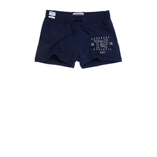 Superdry regular fit sweatshort met logo donkerbla