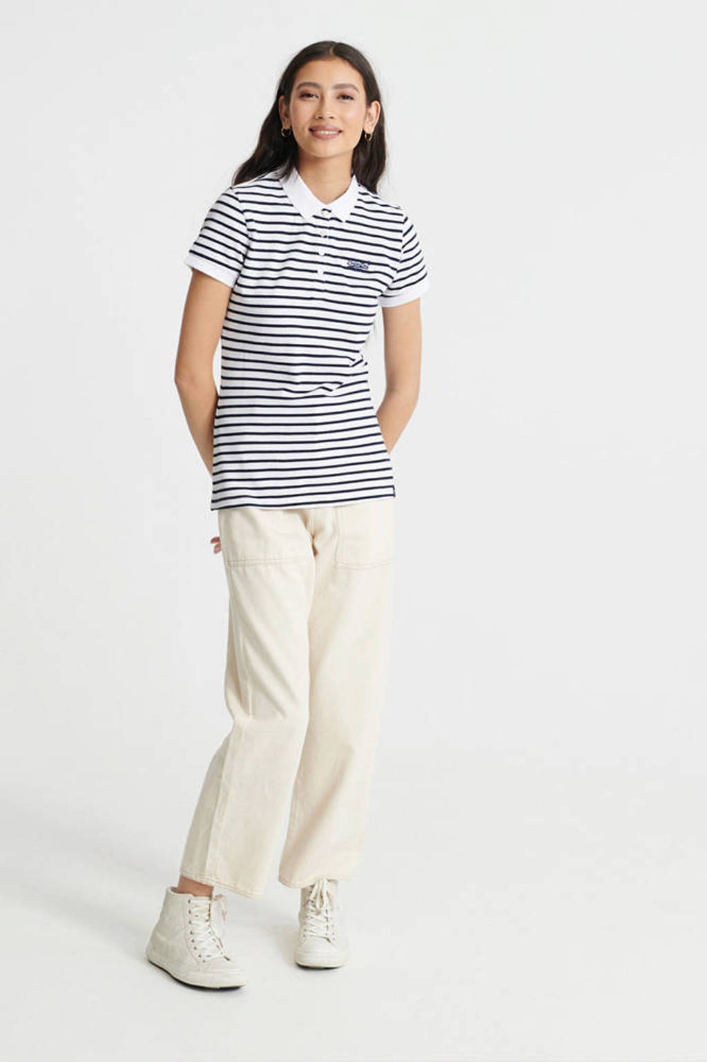 Superdry gestreepte polo wit, Wit