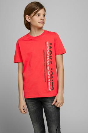 T-shirt Structure met printopdruk rood