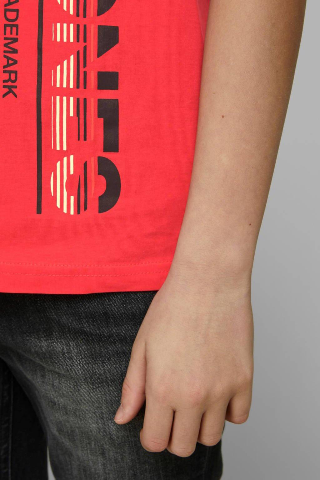 JACK & JONES JUNIOR T-shirt Structure met printopdruk rood, Rood