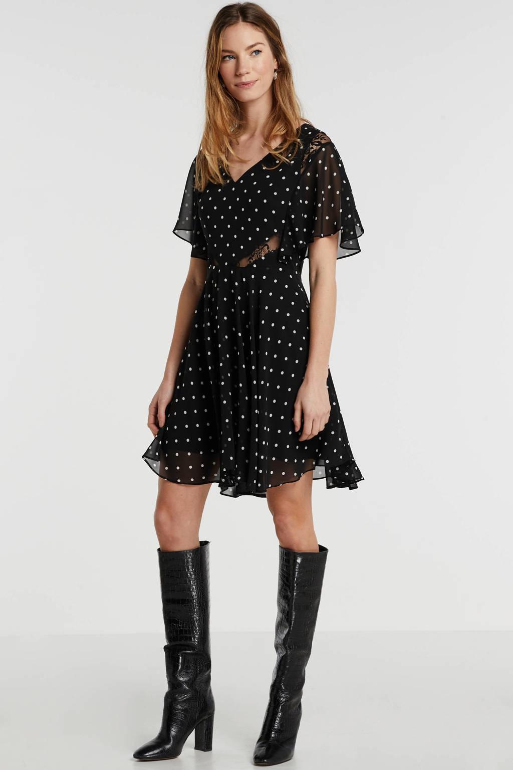 GUESS semi-transparante jurk Ella met stippen en volant zwart, Zwart