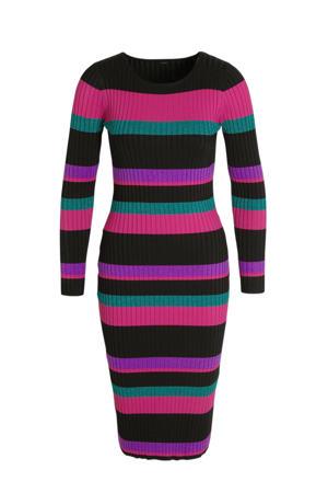 ribgebreide jurk met glitters roze/multicolor