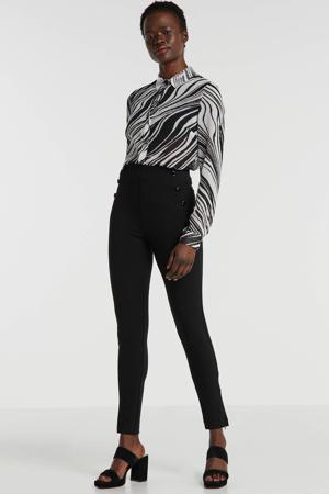 semi-transparante blouse met all over print en sierstenen zwart/wit