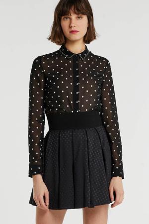 semi-transparante blouse met stippen en sierstenen zwart