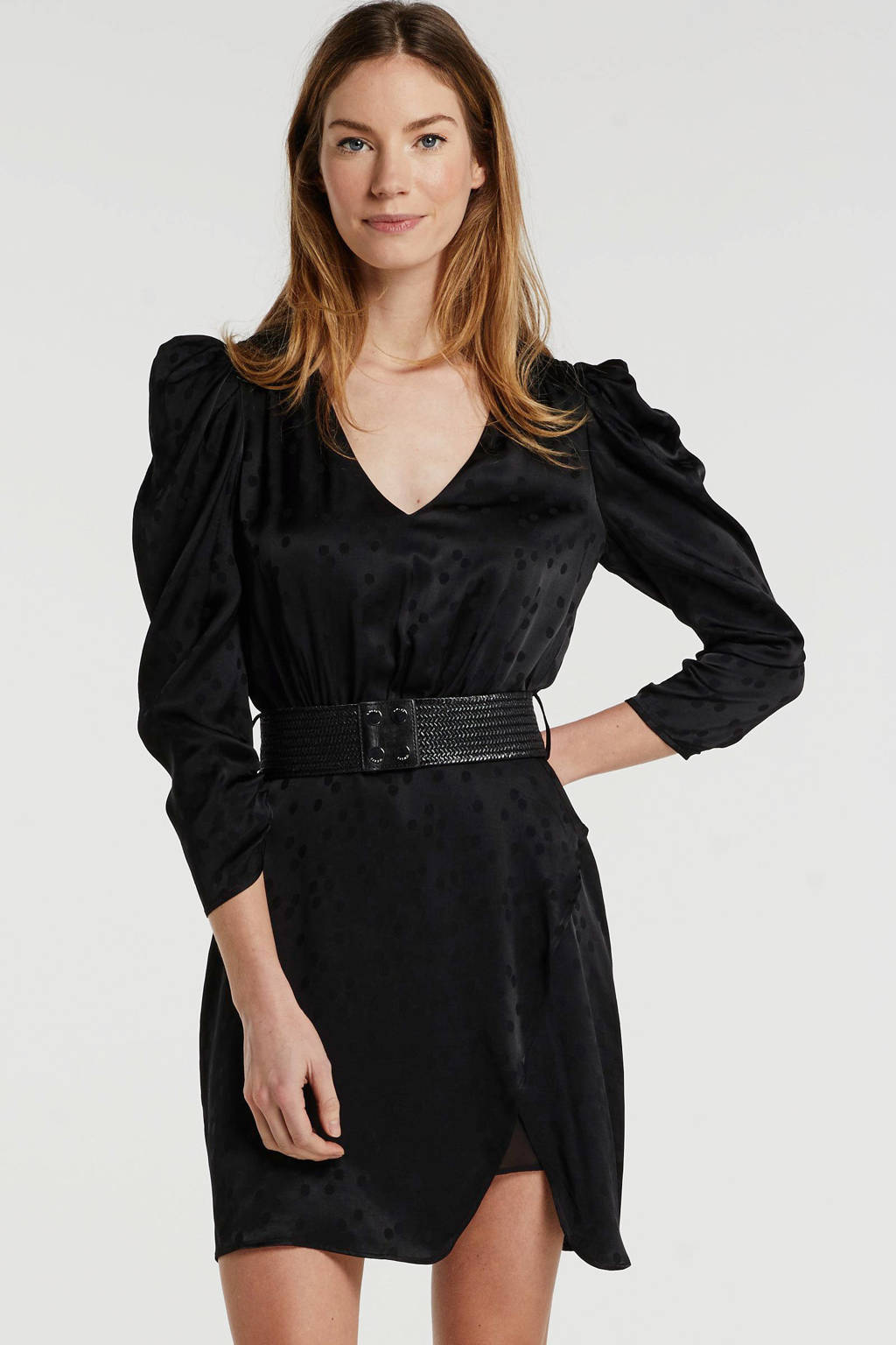 GUESS jurk met ceintuur zwart, Zwart