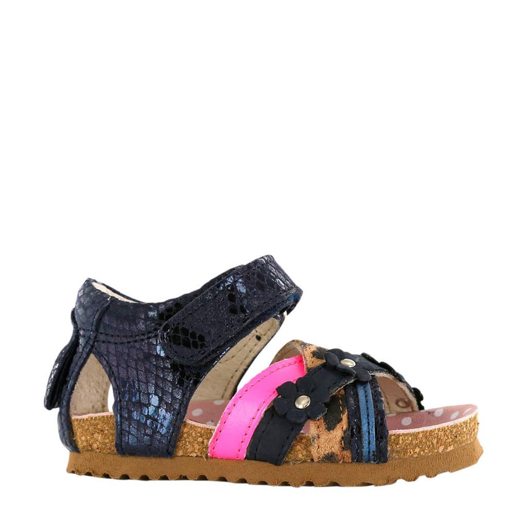 Shoesme BI20S088 -C leren sandalen blauw/metallic, Blauw/roze