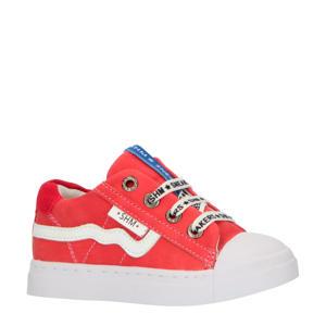 SH20S036-F  leren sneakers rood/wit