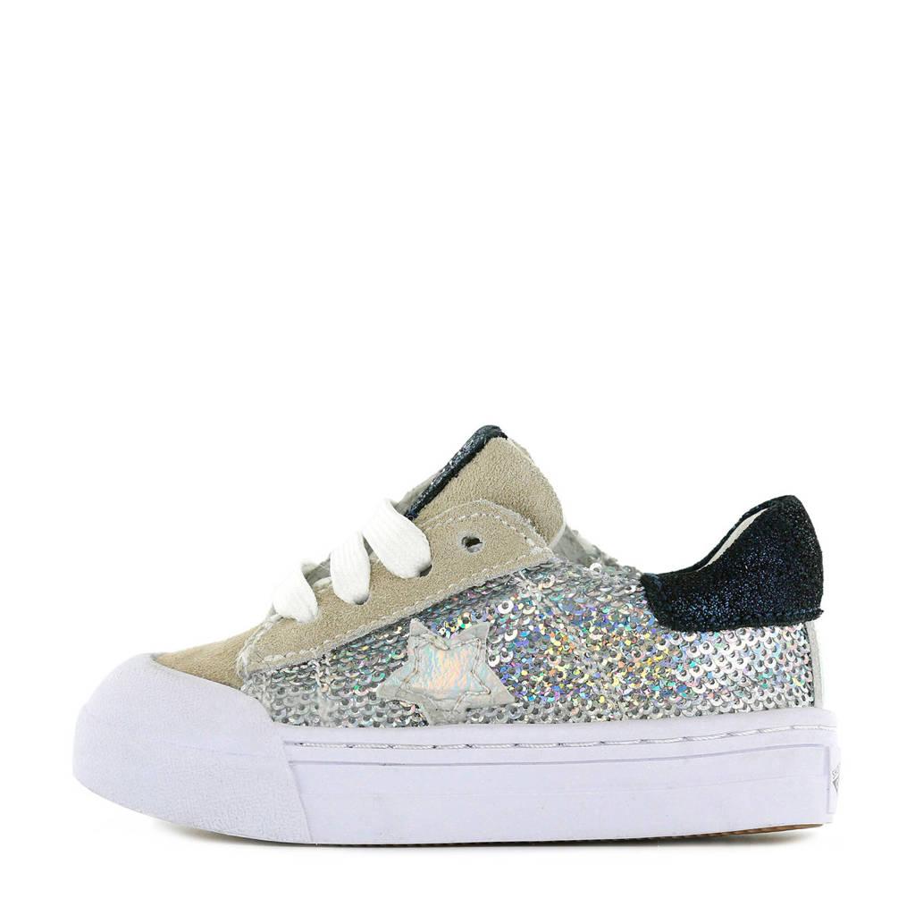 Shoesme BM20S006-G  suède sneakers beige/zilver, Beige/zilver/zwart