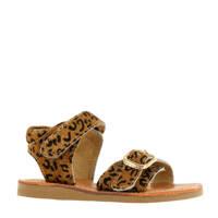 Shoesme CS20S004-G  leren sandalen panterprint, Bruin/zwart