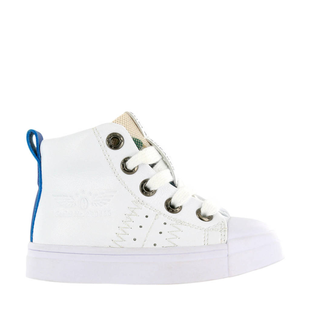 Shoesme SH20S009-A  leren sneakers wit, Wit/blauw