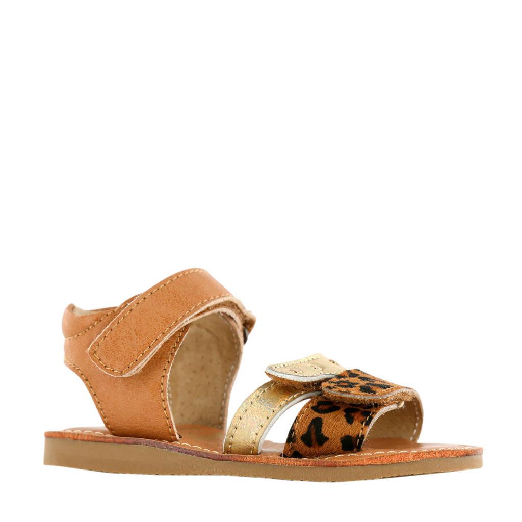 Shoesme CS20S002-A  leren sandalen panterprint/goud, Bruin/goud
