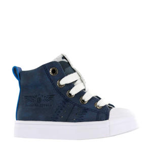 SH20S009-B  leren sneakers donkerblauw