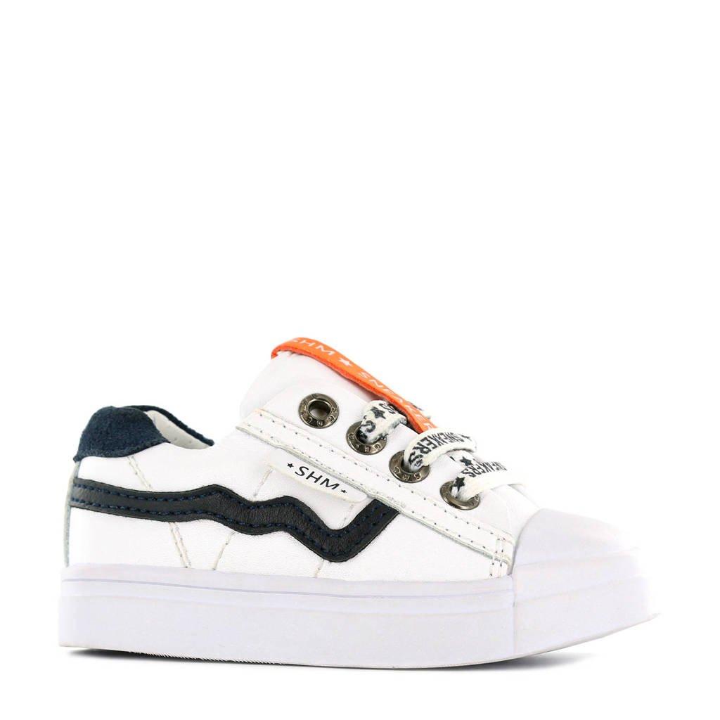 Shoesme SH20S036-D  leren sneakers wit/blauw, Wit/blauw
