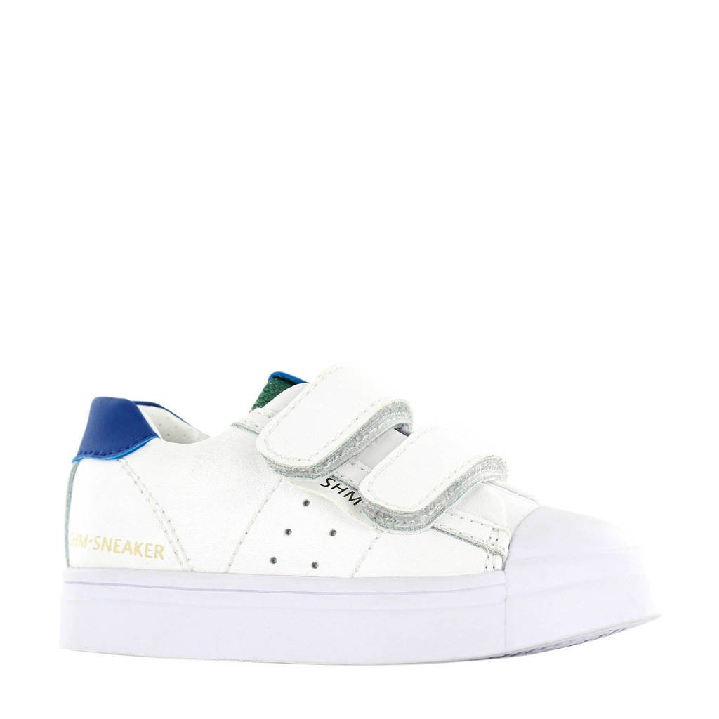 Shoesme SH20S010-B  leren sneakers wit/blauw, Wit/blauw