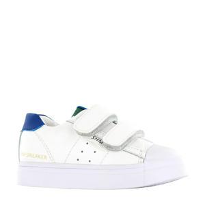 SH20S010-B  leren sneakers wit/blauw