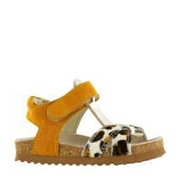 Shoesme BI20S074-B  suède sandalen okergeel/panterprint, Okergeel/bruin